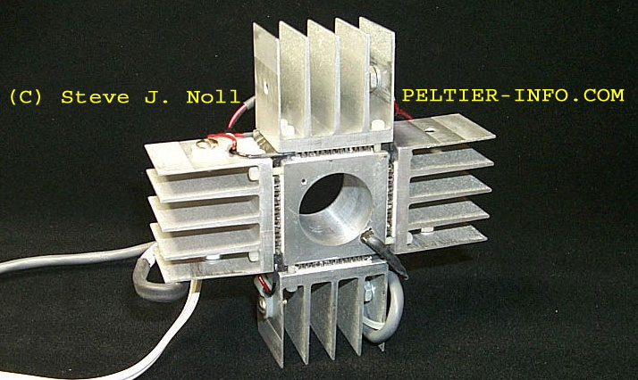 Image of a test fixture using four Peltier modules.