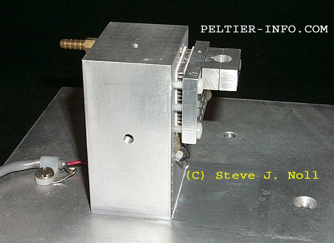 Image of a Peltier-cooled fixture for testing semiconductor devices.
